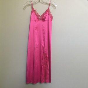 NWT VICTORIAS SECRET hot pink satin lace slip XS